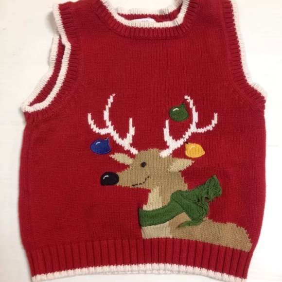 green dog red reindeer christmas sweater vest - Reindeer Christmas Sweater